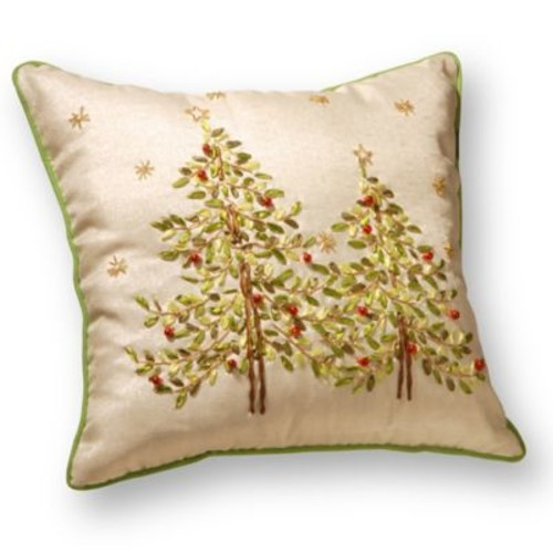National Tree Company Christmas Trees Embroidered Throw Pillow