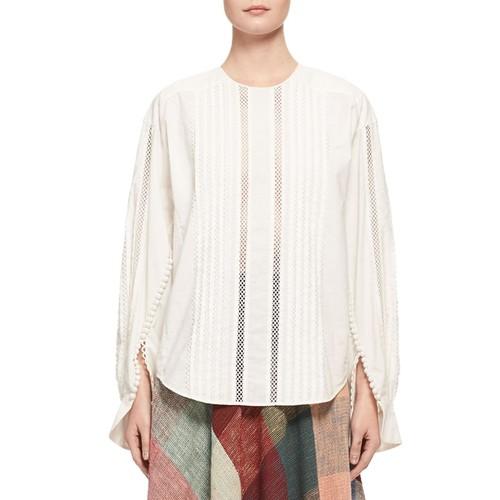 CHLOE Button-Sleeve Lace-Trim Cotton Blouse, White