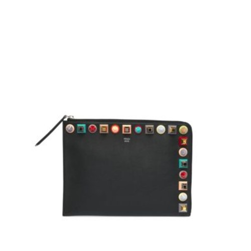 FENDI Multicolor Studded Flat Leather Clutch