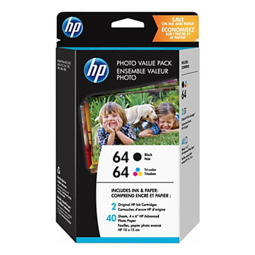 HP 64 Black & Tri-color Original Ink with Photo Paper, 2 Pack (Z2H77AN)