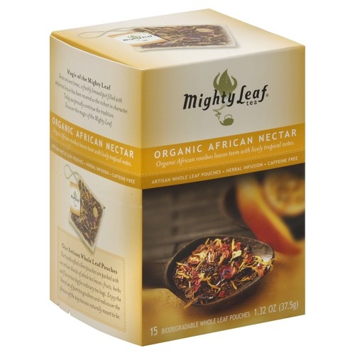 Mighty Leaf Herbal Infusion, Organic African Nectar, Caffeine Free, Artisan Whole Leaf Pouches - 15 pouches, 1.32 oz