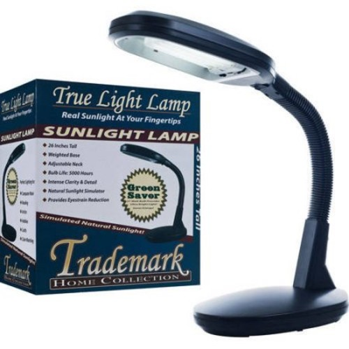 Natural Sunlight Desk Lamp, Great For Reading and Crafting, Adjustable Gooseneck, Home and Office Lamp by Lavish Home, Black [Black]