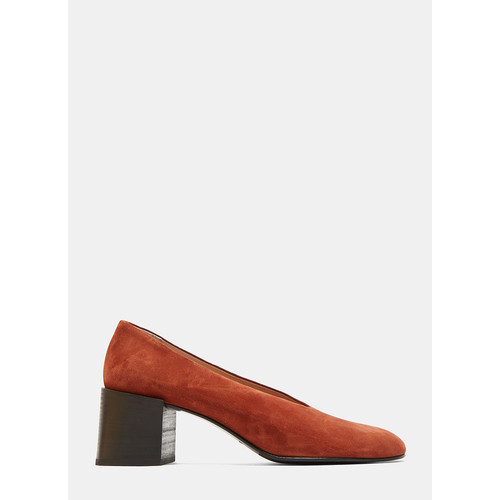 Sully Reverse Suede Heeled Pumps in Burnt Orange