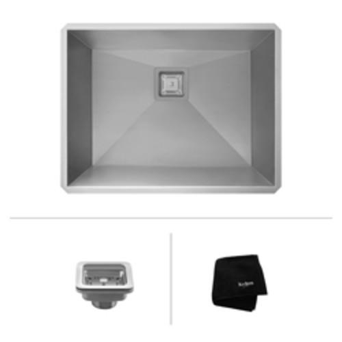 Pax Zero-Radius 24 Inch 18 Gauge Handmade Undermount Single Bowl Stainless Steel Laundry and Utility Sink [KHU24L; Stainless Steel]