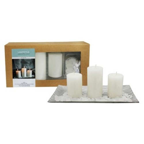 Mini Pillars with Plate and Glass Giftset White Fragrance Free 3ct - Chesapeake Bay Candle