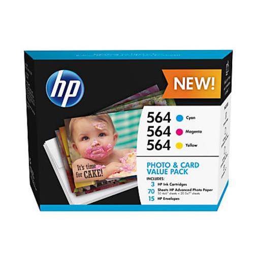 HP 564 Cyan/Magenta/Yellow Ink Cartridges And Photo Paper Pack