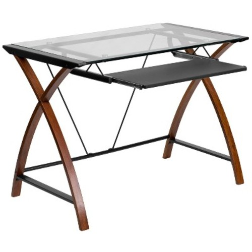 Glass Computer Desk with Pull-Out Keyboard Tray - Flash Furniture