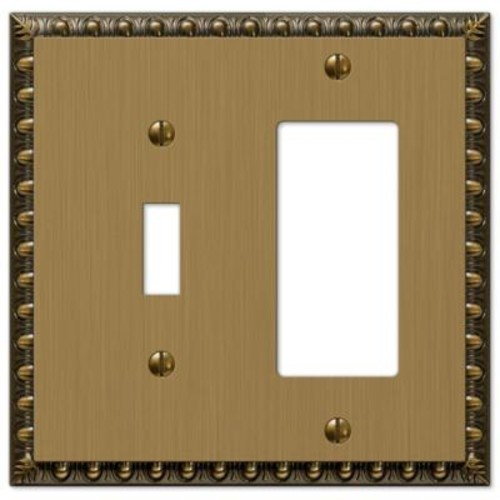Amerelle Renaissance 1 Toggle and 1 Decora Wall Plate - Brushed Brass