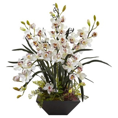 Cymbidium Orchid Silk Arrangement with Black Vase - Nearly Natural
