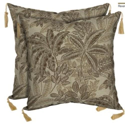 BombayOutdoors Palmetto Reversible Outdoor Throw Pillow (Set of 2); Mocha