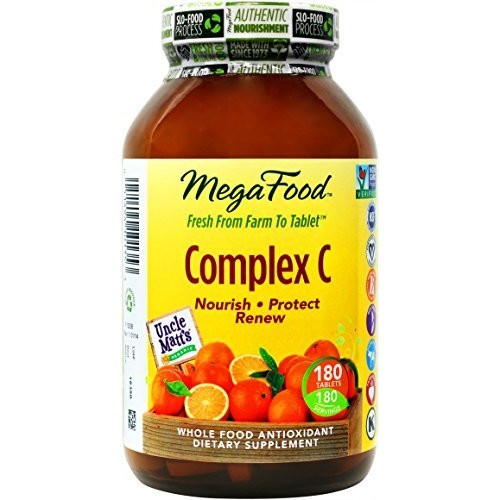 MegaFood - Complex C, Supports Immunity and Well-being with Rosehips and Orange, Vegan, Gluten-Free, Non-GMO, 180 Tablets
