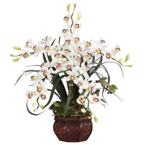 Nearly Natural Silk Cymbidium in White with Decorative Vase