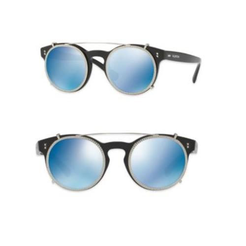 Rockstud Rivet 47MM Clip-On Mirrored Round Sunglasses