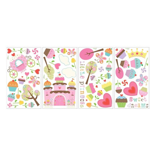 RoomMates RMK1605SCS Happi Cupcake Land Peel and Stick Wall Decals, 56 Count