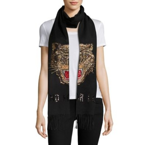 GUCCI Tiger Sequined Cashmere Half Scarf