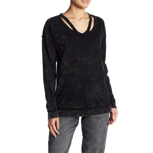 Slashed V-Neck Sweatshirt