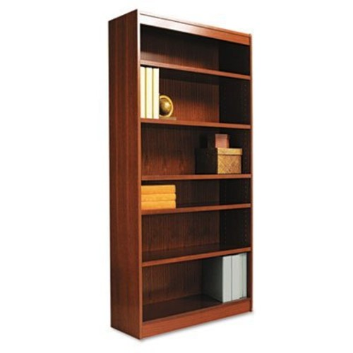Alera Square Corner Wood Veneer Bookcase, Six-Shelf, 35-5/8w x 11-3/4d x 72h, Mahogany