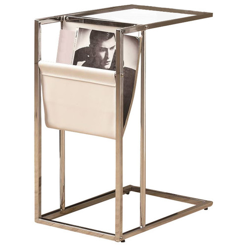 Monarchspecialties Home Patio Decorative I 3034 White / chrome metal accent table with a magazine holder