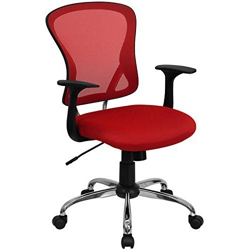 Flash Furniture Mid-Back Red Mesh Swivel Task Chair with Chrome Base and Arms [Red]