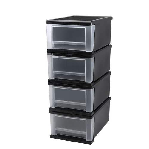 Iris Usa, Inc. 4-Piece 17-Quart Stacking Drawer Medium Black
