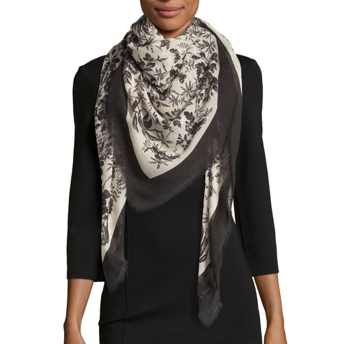GUCCI Erbary Floral Voile Shawl, Black/Ivory