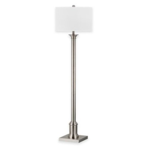 Safavieh Livia Floor Lamp in Nickel with Cotton Shade