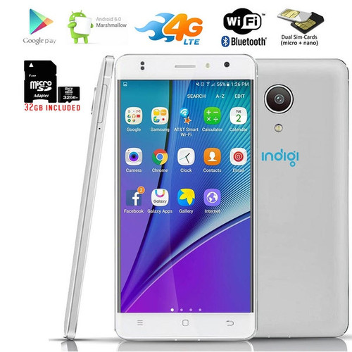 Indigi 4G LTE SmartPhone Ultra-Slim 5.0in Curved Screen Android 6.0 + 32gb microSD - White