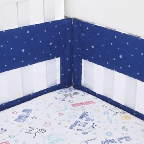 ED Ellen DeGeneres Doodle Dog Secure-Me Mesh Crib Liner in Royal Blue