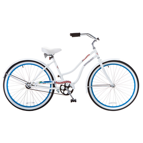 Titan Women's Docksider Beach Cruiser Single-Speed Bicycle, 17-Inch Frame, 26-Inch Wheels, Blue Wheels