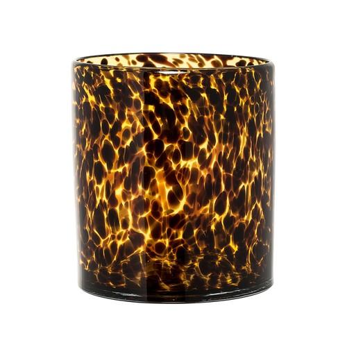 Amber & Black Glass Pillar Holder - 6