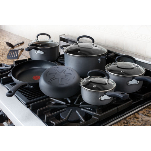 T-fal, Ultimate Hard Anodized, E918SC, Oven Safe, 12 Piece Cookware Set, Grey