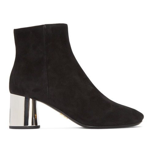 PRADA Black Suede Ankle Boots