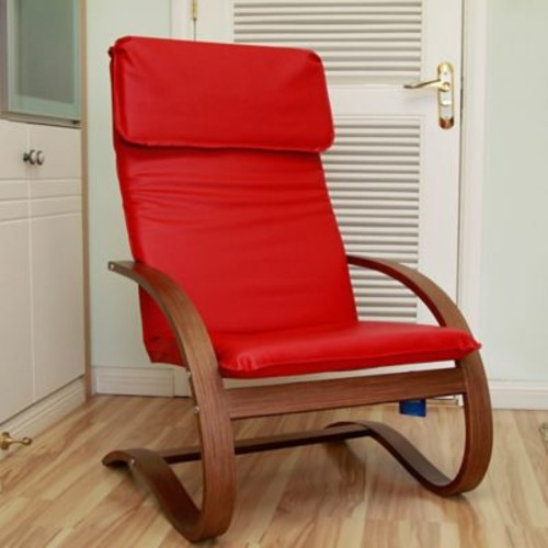 Varick Gallery Argueta Faux Leather Lounge Chair; Red