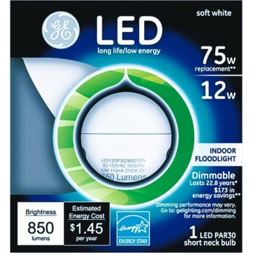 GE LED Bulb 12 watts 850 lumens PAR30 Floodlight 1 pk Soft White(96843)