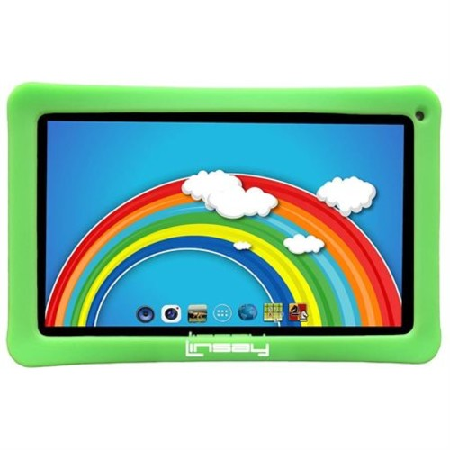 Linsay 10-Inch Front Camera 8GB Android 4.4 Quad Core Tablet PC with Kids' Blue Defender Case