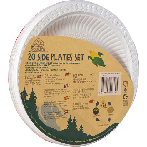 EcoSouLife Cornstarch Side Plates 7-Inch Natural -- 20 Dishes