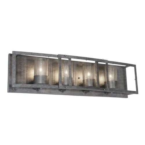 Varaluz Jackson 4-Light Antique Silver Vanity Light with Arched Windowpane Glass