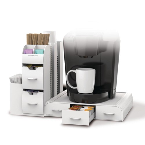 Mind Reader Pod Drawer and Condiment Caddy White Coffee Station