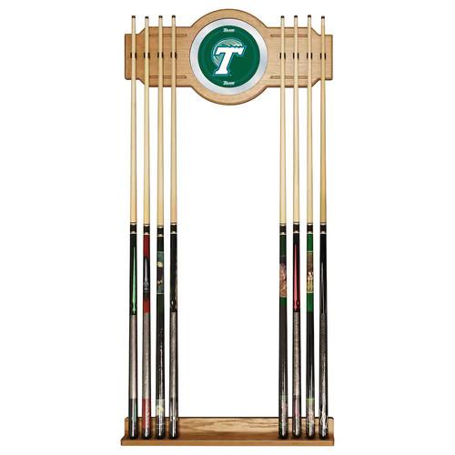 Tulane Green Wave Billiard Cue Rack with Mirror