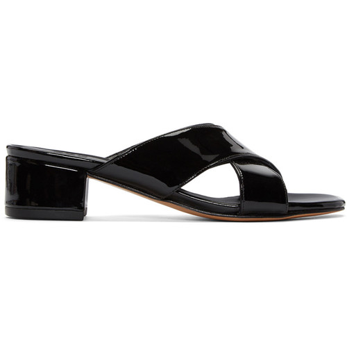 MARYAM NASSIR ZADEH Black Patent Leather Lauren Slide Sandals