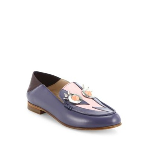 FENDI Faces Studded Leather Loafers