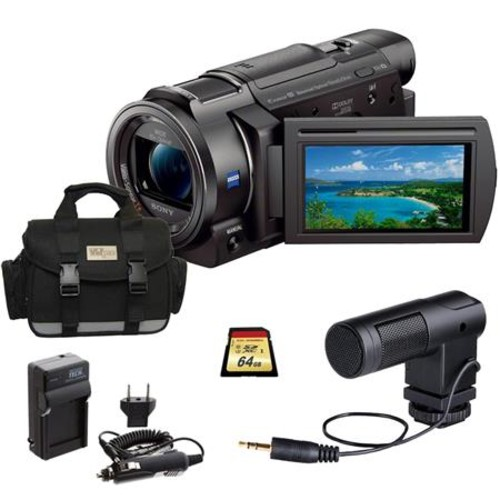 Sony FDR-AX33 4K Ultra HD Handycam Camcorder, Black with Pro Accessory Bundle FDRAX33/B B