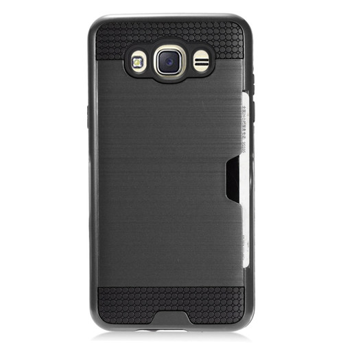Samsung Galaxy J7 2016 Case, by Insten Brushed Chrome with ID/Credit Card Slot Case Cover For Samsung Galaxy J7 (2016), Black