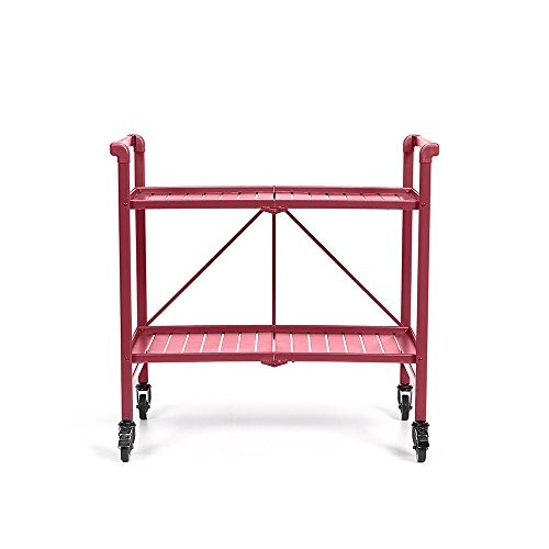 Cosco Indoor or Outdoor Folding, Metal, Rolling Serving Cart, Red