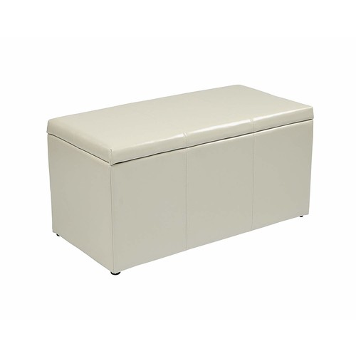 Office Star Metro 3-Piece Bench and Ottoman Cube Set in Eco Leather, Cream