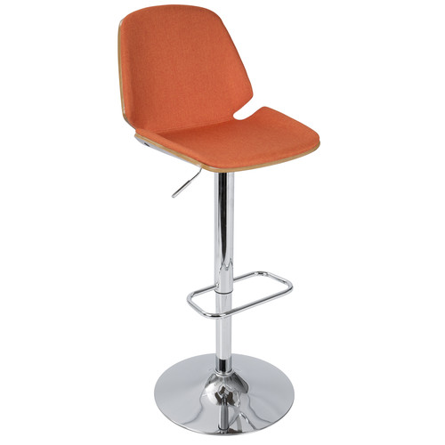 Lumisource Serena Mid-Century Modern Barstool in Orange Fabric and Walnut Wood by LumiSource