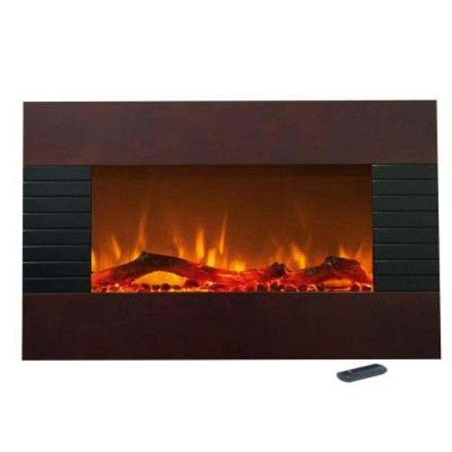 Northwest 36 in. Electric Fireplace with Wall Mount and Floor Stand in Mahogany