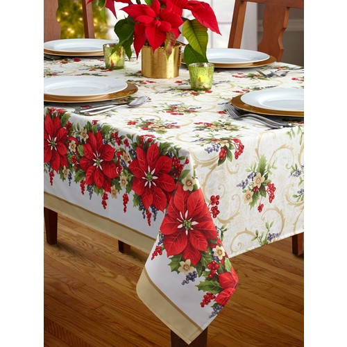 Poinsettia Promenade Christmas Tablecloth