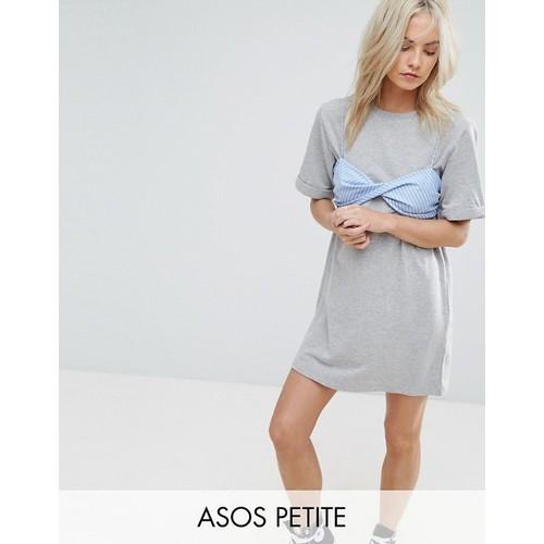 ASOS PETITE T-Shirt Dress with Contrast Stripe Bra