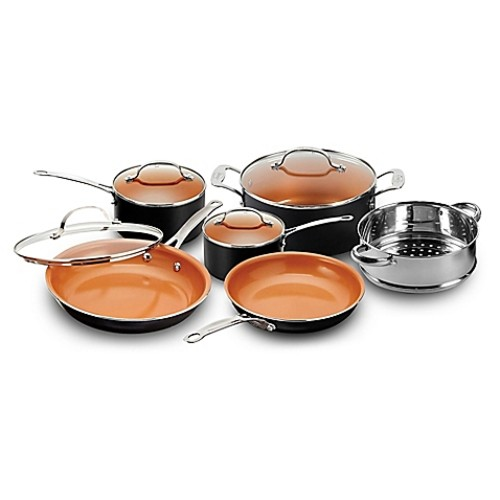 Gotham Steel Ti-Cerama 10-Piece Cookware Set in Black